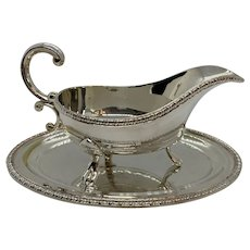 Viner's Of England Silver-plated Gravy Boat And Tray