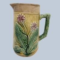 """Early Majolica 6 3/4"""" Pitcher W/ Primrose And Ivy Design"""
