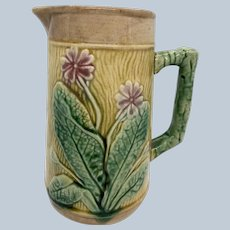 "Early Majolica 6 3/4"" Pitcher W/ Primrose And Ivy Design"