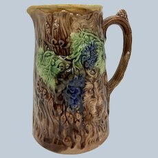 "7 3/4"" Majolica Pitcher W/ Grape Motif"