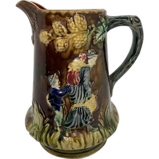 Antique Majolica Pitcher W/ Oak Leaf Design