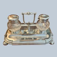 English Silver Plated/Crystal Ink Stand By Watson & Gillott C:1900