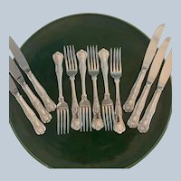 """12 Pc, Reed & Barton """"Kings"""" Silver Plated Flatware"""