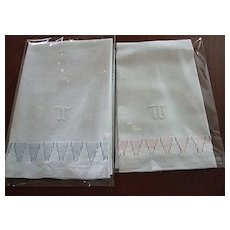 """Pr. of Linen Towels with Hand embroidered """"W"""" - Red Tag Sale Item"""