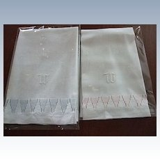 """Pr. of Linen Towels with Hand embroidered """"W"""""""