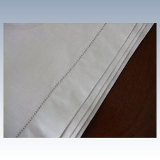 """Hemstitched Damask Linen Table Cloth 54X52"""""""