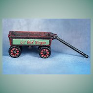 Vintage Miniature Toy Cast Iron  Red Wagon