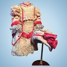 Antique Doll COUTURE OUTFIT Superb and Elegant Hand Made FOR Jumeau, Bru, Steiner, Schmitt, Gaultier And Other Fine French And German Dolls