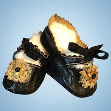 Antique STUNNING Doll Shoes Slippers With MARKINGS Jumeau, Bru, Steiner or German Dolls