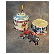 Tin German Musical  Wind-Up, Drum Bank and Jet Rocket Toys