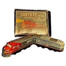 Santa Fe Diesel Operated Train Engine & Car Lithographed Tin Toy ORIGINAL BOX