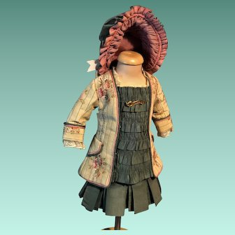 Wonderful Antique Doll Small Size 2 Piece Outfit With Matching and STUNNING Bonnet For Bru Jumeau or Others