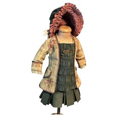 Wonderful Doll Small Size 2 Piece Outfit With Matching and STUNNING Bonnet For Bru Jumeau or Others