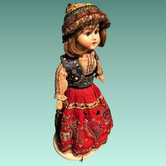 Vintage Doll Dress and Bonnet Embroidered Beaded  ONE OF A KIND Stunning for French, German or other Doll