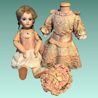 Antique ONE OF A KIND Exquisite French Couture Dress And Bonnet With Gorgeous Blue Eye Bru Doll
