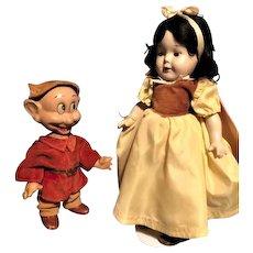 Antique Madame Alexander Snow White 1937 Knickerbocker Dopey 1930 Dolls COMPOSITION FINAL PRICE REDUCTION