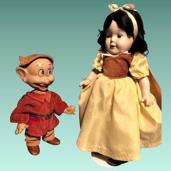 Antique Madame Alexander Snow White 1937 Knickerbocker Dopey 1930 Dolls COMPOSITION