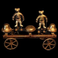 Antique DOUBLE Teddy Bear Rare and Unique BELLS and WAGON PULL Toy 1905-08