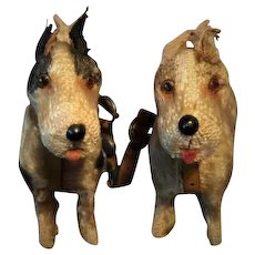 Antique Miniature TWIN FRIPON Fox Terrier Dogs With ORIGINAL LEATHER Tandem Harness 1890's For Your Jumeau Bru Steiner Fashion Or Other  FRENCH OR GERMAN DOLL
