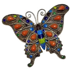 Vintage Chinese Export Butterfly Brooch / Pin Silver, Coral, Enamel