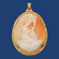 Vintage 15k Gold Cameo Pendant, Hebe Feeding the Eagle, Carved Shell, Signed