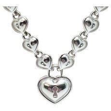 Tiffany & Co Italy 925 Sterling Silver Puffy Heart Lock Continuous Link Necklace, Padlock Pendant