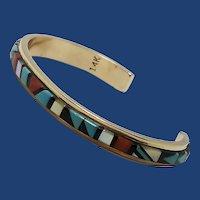 Don & Viola Eriacho, Zuni, 14K Gold Multi Stone Inlay Cuff Bracelet, Native American