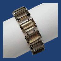 Stunning! Vintage Smoky Quartz & Sterling Silver Bracelet, Japan, 207 tcw