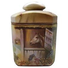 Vintage Nippon Moriage Cigar Humidor, Equestrian, Horse in Stall/Barn, Green Mark, Morimura Bros