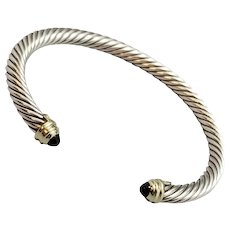 David Yurman Classic Cable Cuff Bracelet, Sterling Silver, 14K Gold, Black Onyx Cabochons, 5MM