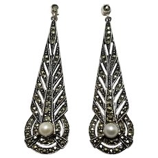 "Art Deco 2&1/2"" Drop Earrings, Sterling Silver, Marcasite & Cultured Pearl, Pierced"