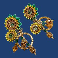 Lunch at the Ritz Dangly Sunflower Earrings, Enamel, Swarovski Crystal, Clips