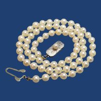 Vintage Mikimoto Pearl Necklace, 5mm Akoya Cultured Pearls, Engraved Silver Clasp, Wedding, Graduation