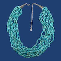 Carolyn Pollack, Relios, 10 Strand Torsade Necklace, Turquoise Beads, Sterling Silver, Southwestern