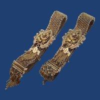 Pair Victorian Slide Bracelets, 10K Gold, Enamel, Garter, Tassel, Pearl, Wedding, Bride