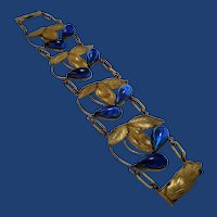 """Antique Art Nouveau Leaves & Sapphire Blue Cabochon Teardrops Bracelet, 1&3/8"""" Wide"""