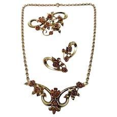 1940's Krementz 14K Solid Gold Roses Parure, Necklace, Brooch / Pin, Earrings