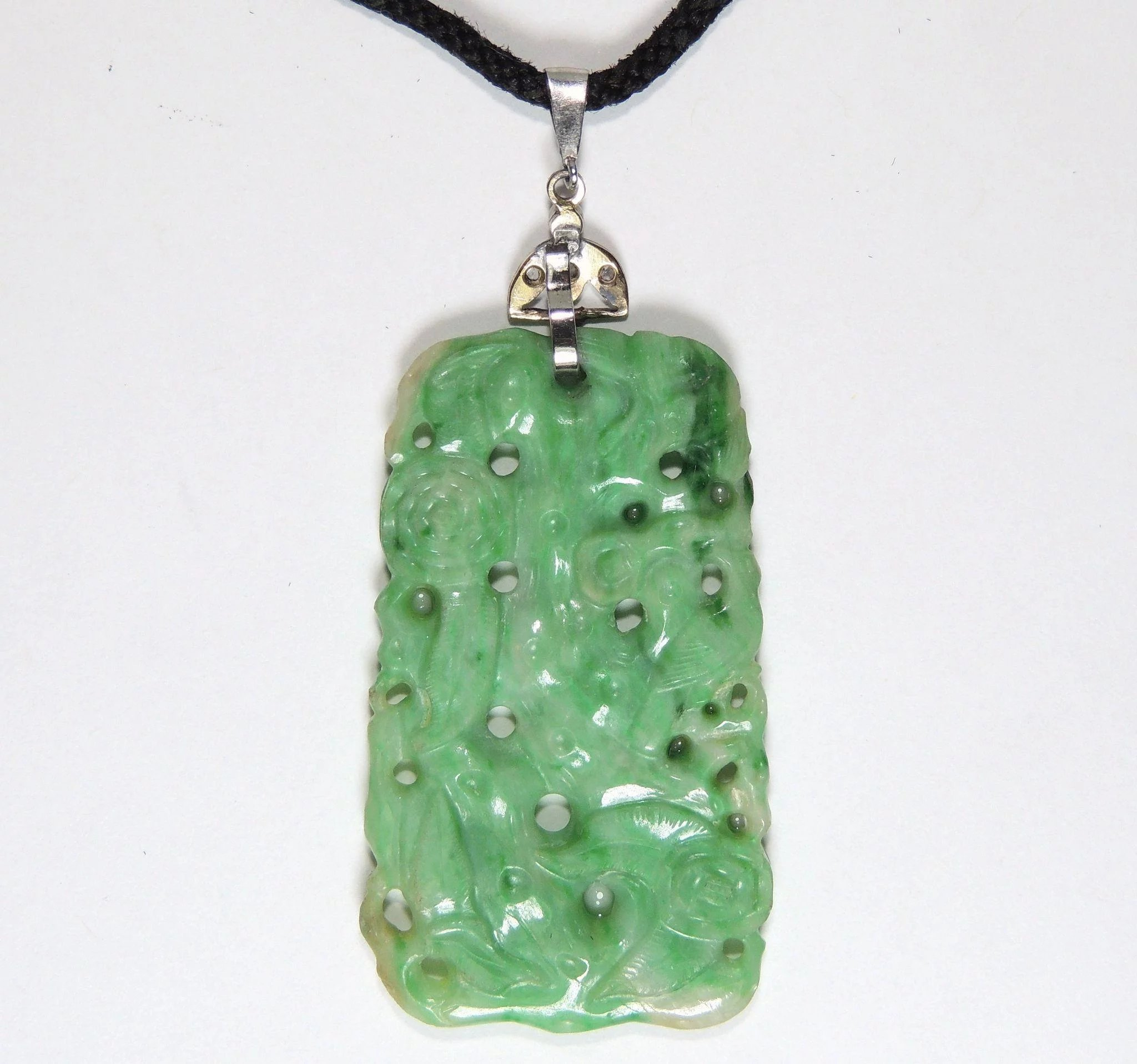ru img yi jade unique carved hand necklace pendant tiger knotted cord green amulet with