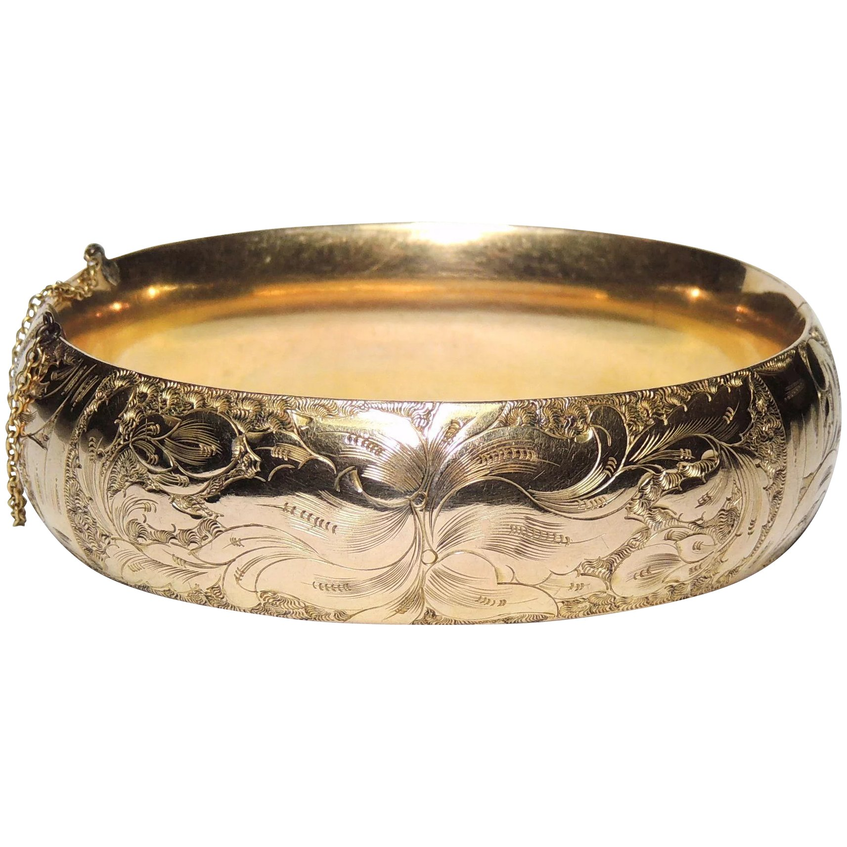from elaborate vintage flower bangle above bracelet floral this an tone blossom hinged gold bangles is of the image