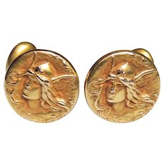 10k Victorian, Art Nouveau Mercury or Hermes, God Cufflinks, Repousse, Bloomed Gold, Cuff Links