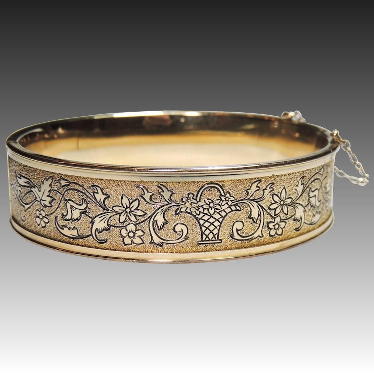 Vintage Gold Filled Bangle Bracelet Sidney O Ney Engraved Enameled Flower Basket Design