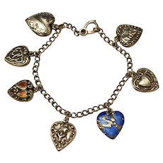 Vintage Puffy Heart Charm Bracelet, Sterling Silver, 7 Charms, Enamel