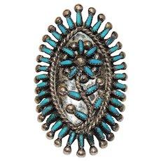Vintage Zuni Needle Point Turquoise Ring, VS Johnson, Needlepoint, size 6