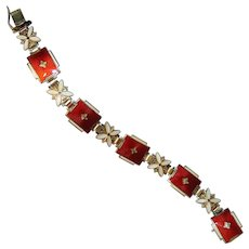 Signed Aksel Holmsen Red & White Enamel Bracelet, Norne, Norway, Sterling