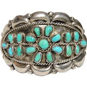 Native American Sterling and Turquoise Cuff Bracelet, Navajo