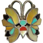 Rosita & Anselm Wallace Zuni Native American Butterfly Ring, Sterling, Inlay, size 7