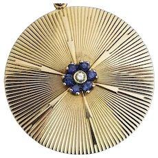 "Huge Tiffany & Co 14k Pendant, Charm, Diamond & Sapphires, 15.5 grams, 1.5"""