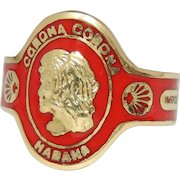 Cartier Cigar Band Ring, Corona Habana 18k Gold, Red Enamel