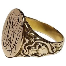 Art Nouveau Signet Ring, Lady w Flowing Hair, 12k, sz 8