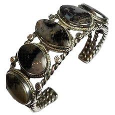 Native American Cuff Bracelet, Sterling & Petrified Wood